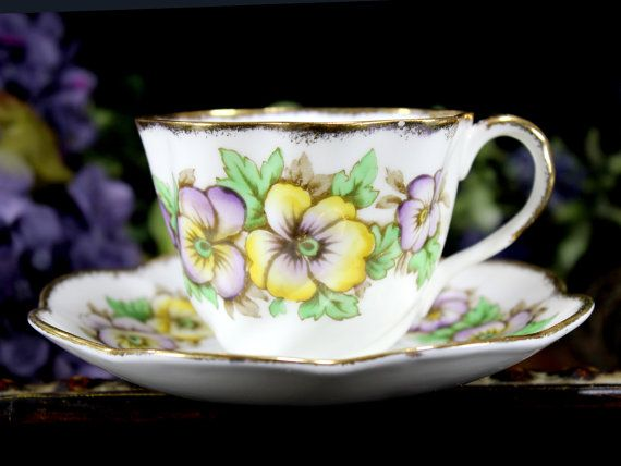 Salisbury Teacup Pansy Bone China Floral by TheVintageTeacup