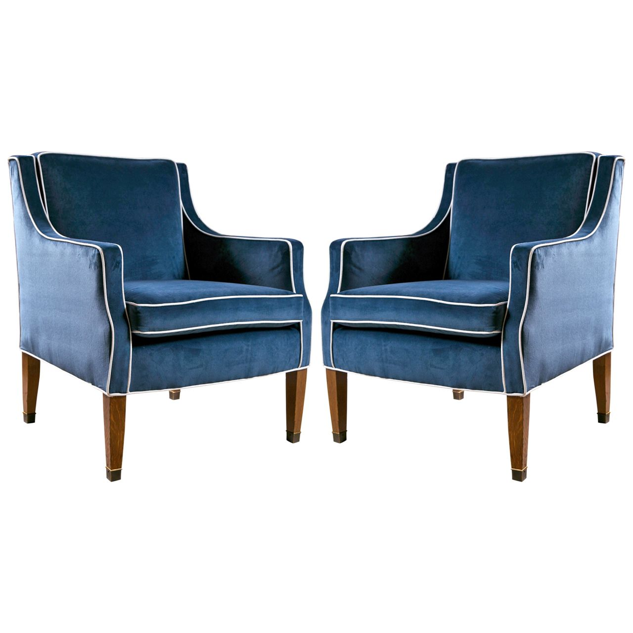 Mid Century Club Chairs With Blue Velvet Upholstery And Contrast White Piping From A Unique Collection Of Antique Club Chairs Upholstery Upholstery Armchair