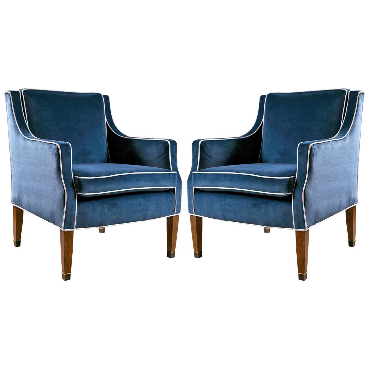 Velvet curtain club - Mid Century Club Chairs With Blue Velvet Upholstery