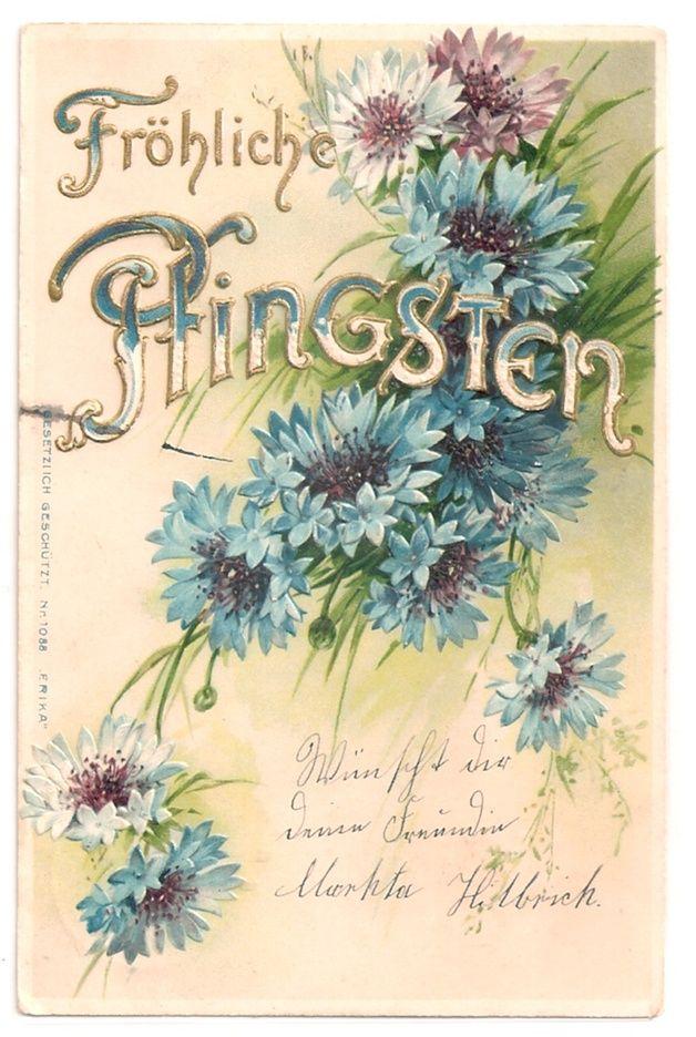 Alte jugendstil postkarte pfingsten kornblumen vintage - Vintage bilder kostenlos ...