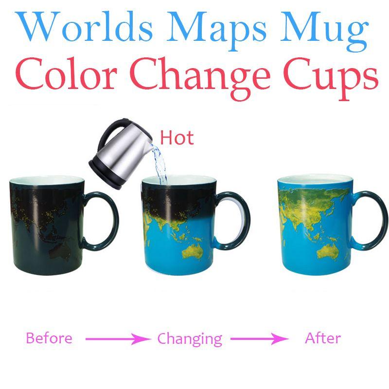 Worlds Maps Color Change Mugs Earth Night Mug Ceramic Coffee Drink