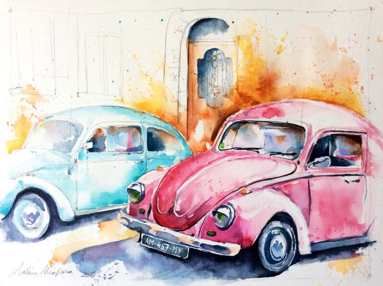 Watercolor Original Painting Lady Bug Car Volkswagen Beetle