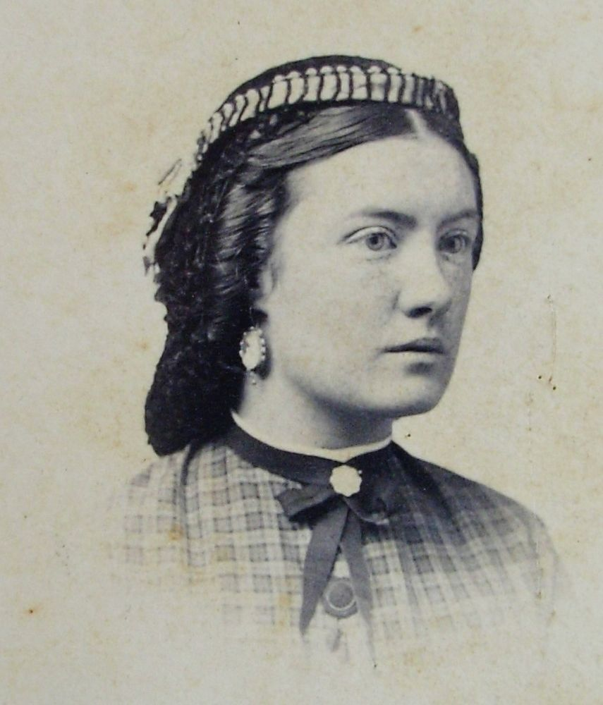 antique civil war era cdv photo cleveland woman hair in