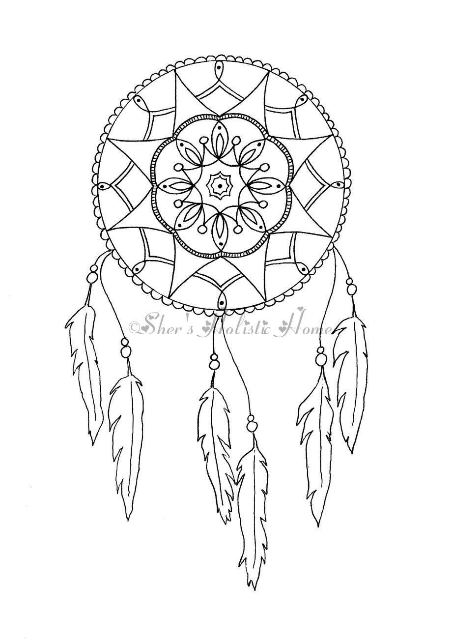 Mandala dreamcatcher colouring page available at my etsy for Selling coloring pages on etsy