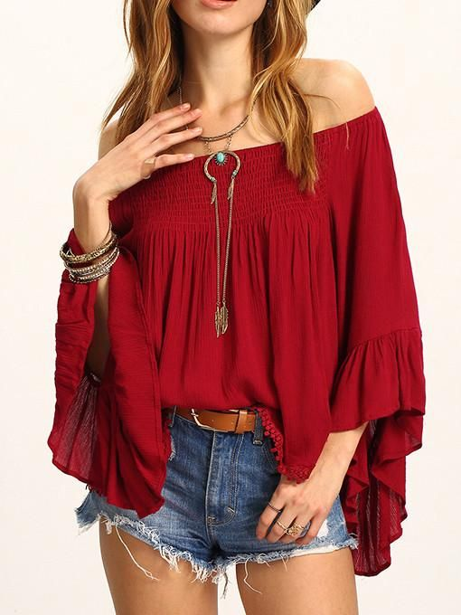 445e442214b8 Beautiful Wine-red Falbala Sleeve Off-the-shoulder T-Shirt Tops ...