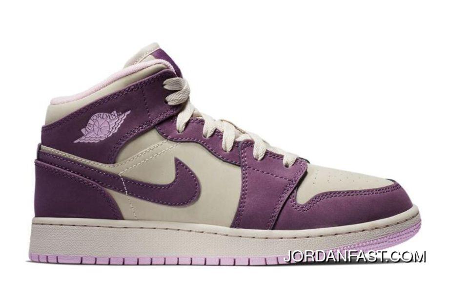 3a544519225 Nike Air Jordan 1 Mid GS Pro Purple/Desert Sand 555112-500 New Style ...