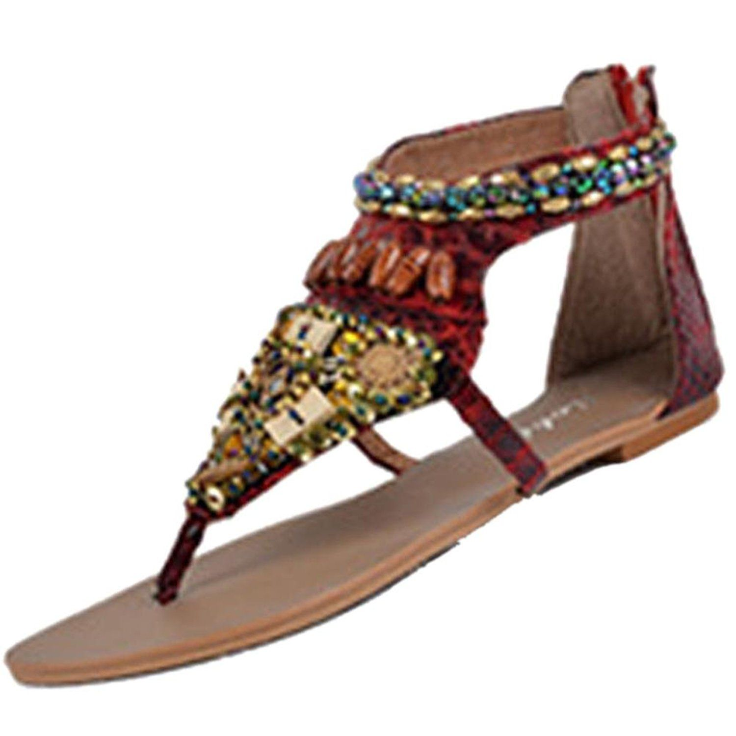 Amiley Women S Bohemian Beads Ethnic Flat Dress Sandals Ankle Strap