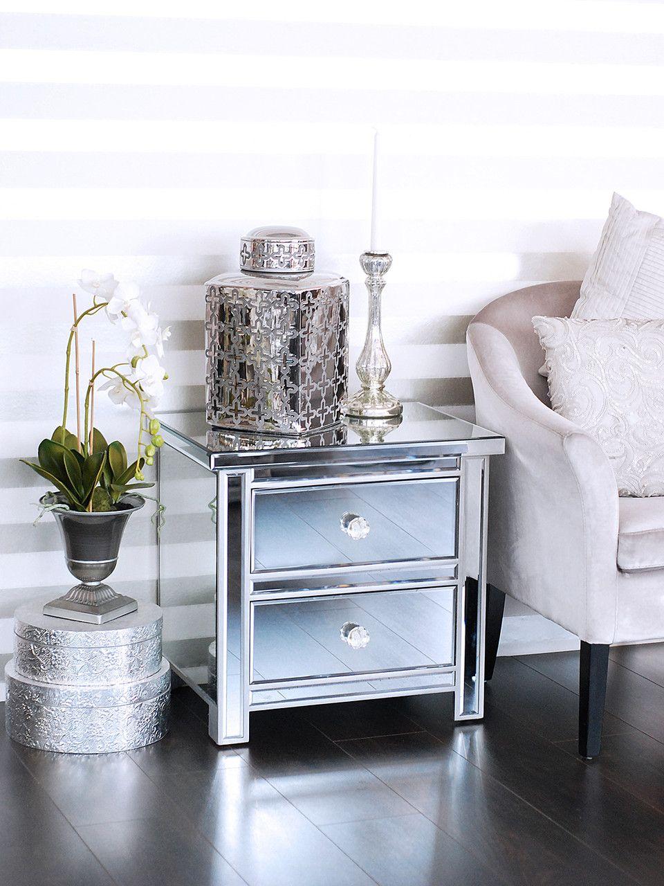 Verspiegeltes Nachtkästchen Mit Zwei Laden, Silber   Pure Velvet Interior  Möbel Online