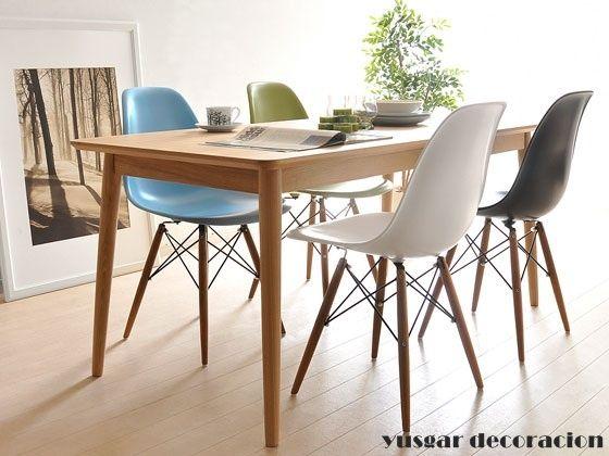 mesa comedor con armazon y patas conicas de madera de haya. mesa de ...