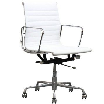 Amazon Com Lexmod Ribbed Mid Back Office Chair White Genuine Leather Home Kitchen Adjustable Office Chair