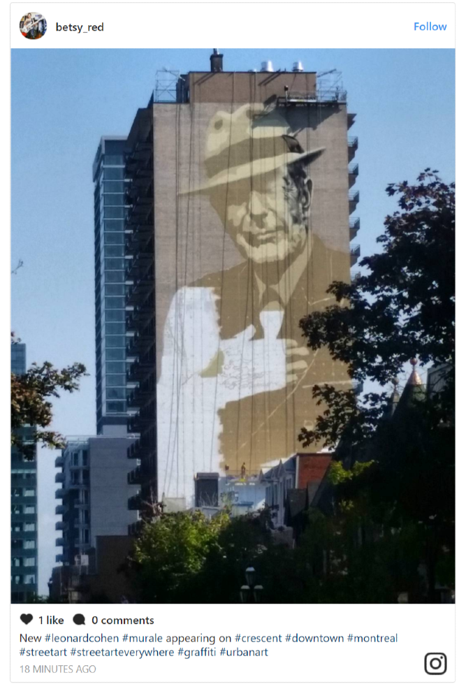 Leonard Cohen Montreal Mural In Then Came The Healing Time