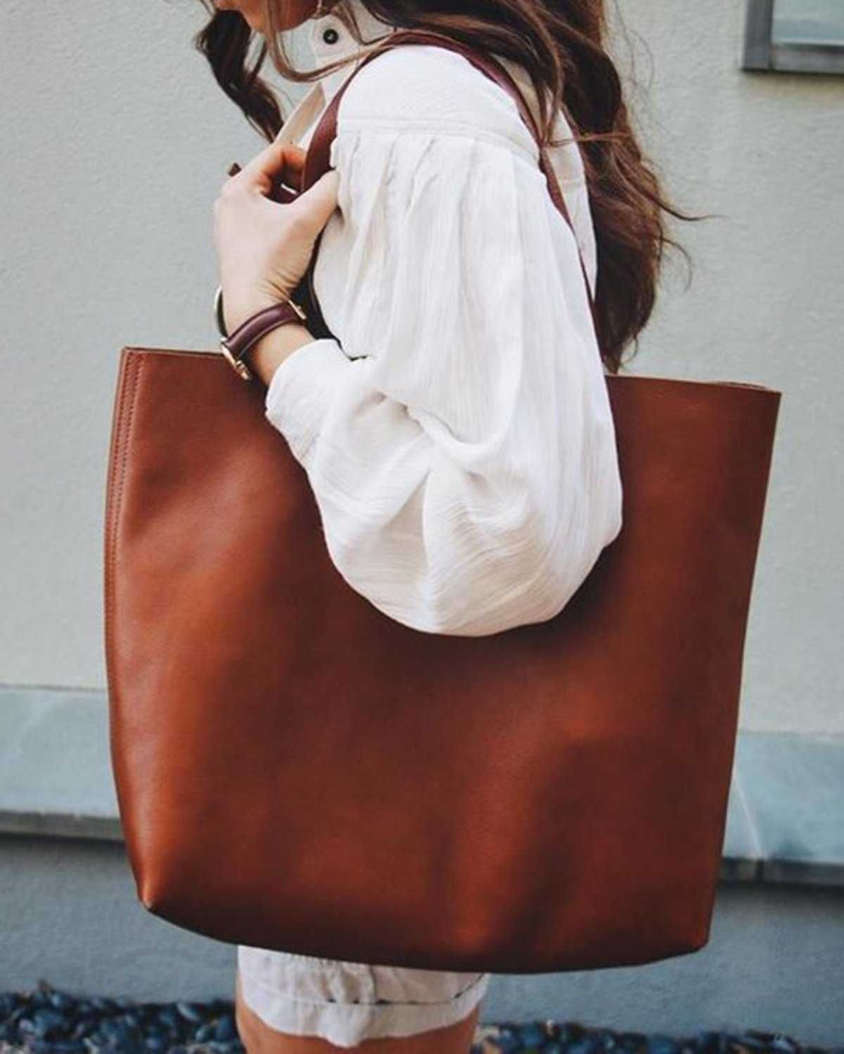 Brown Leather Womens Tote Bags School