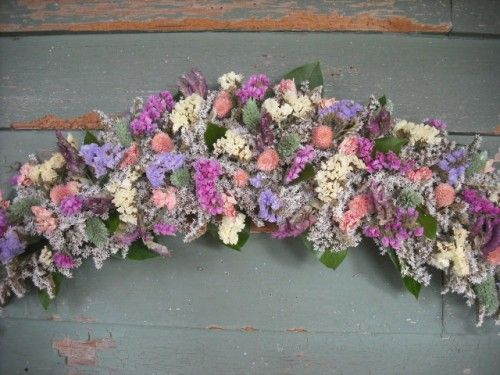 Dried Flower Arch Or Swag Made With German Statice As Pastle Blooms Dried Flower Arrangements Dried Flowers Dried Floral
