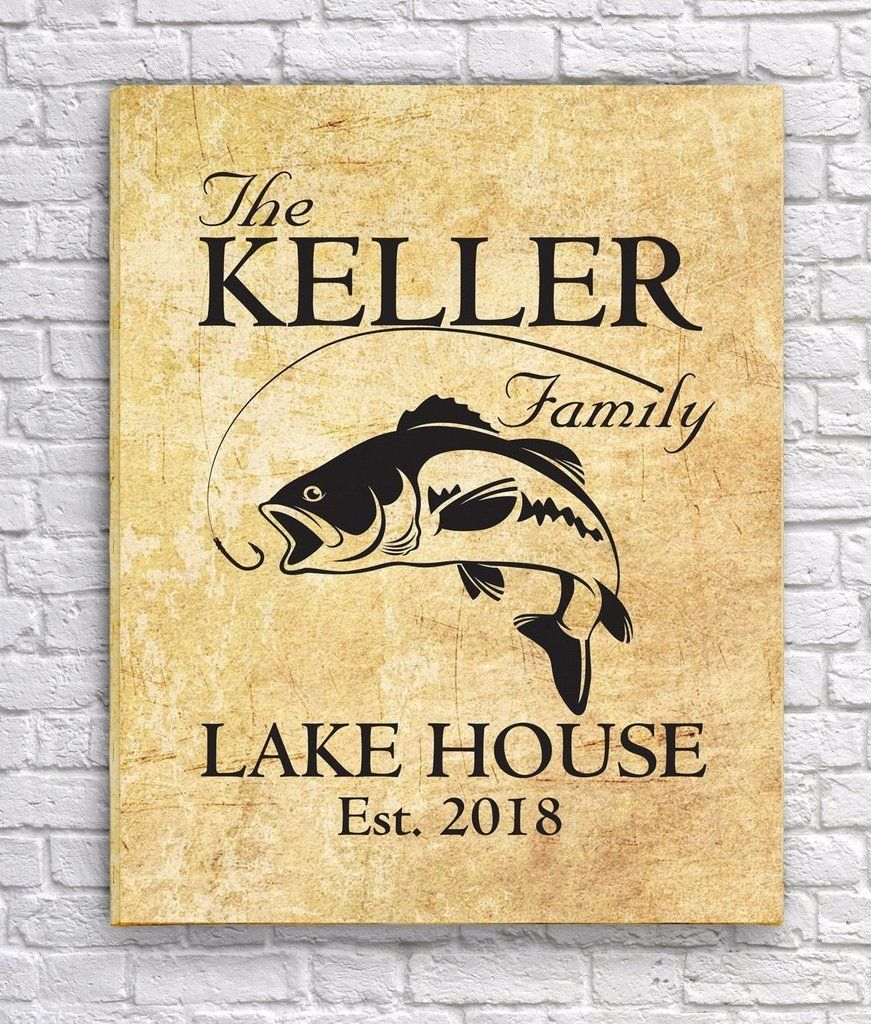 Personalized Family Lake House Canvas Print - Parchment | Canvases ...