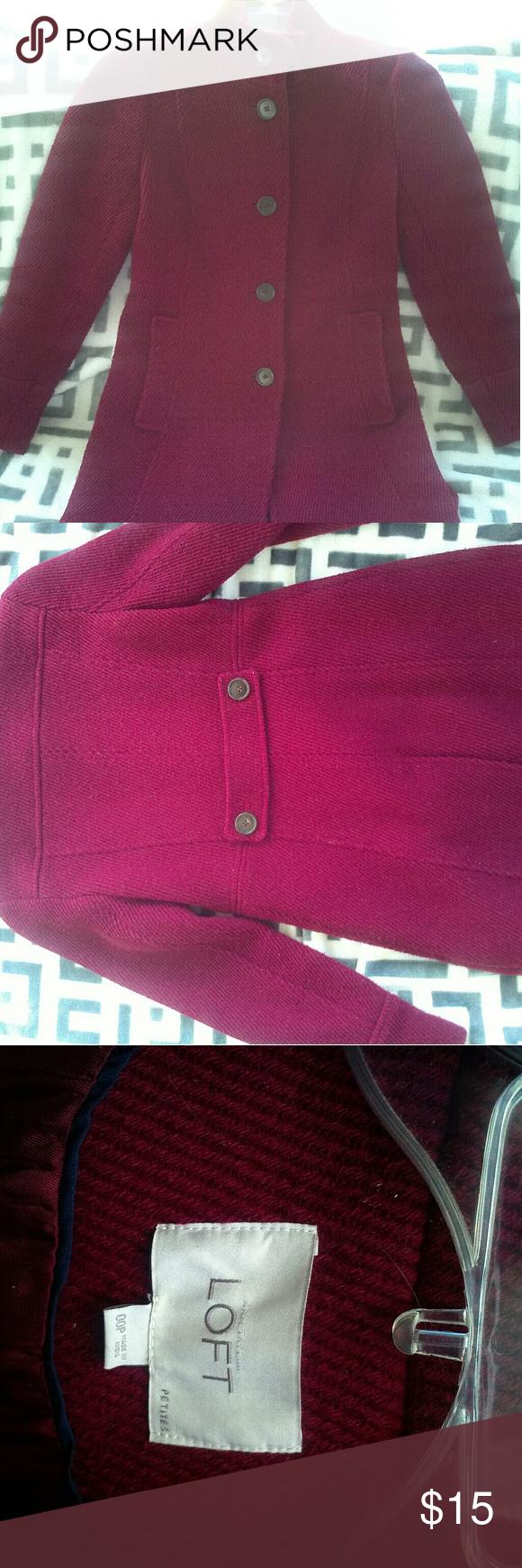 Fall/Winter coat Beautiful maroon and black wool coat.  Mid length, The Loft Jackets & Coats