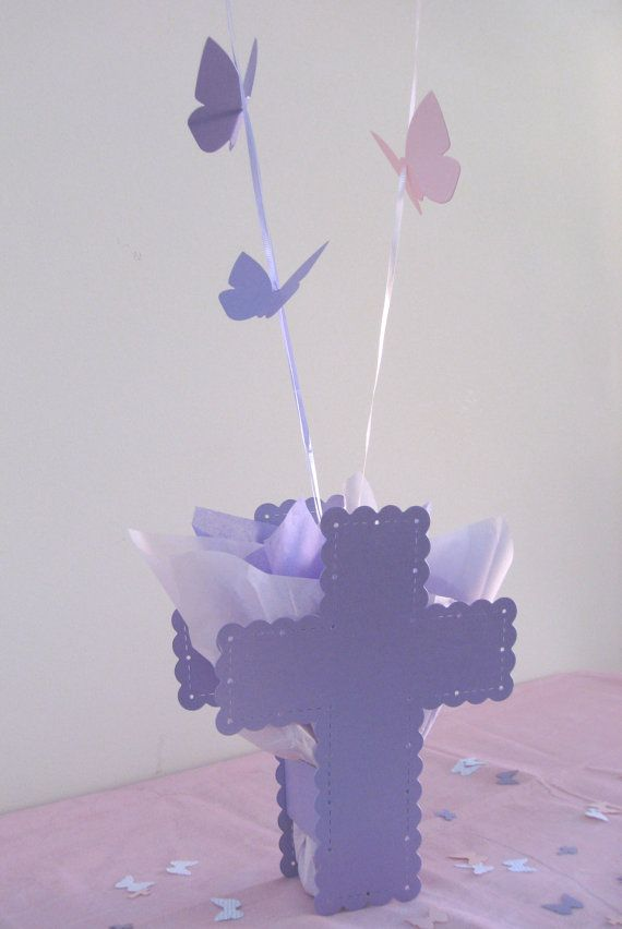 Baptism balloon centerpieces with cross by