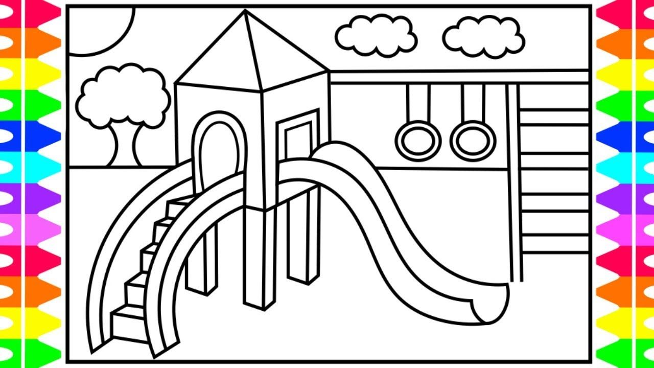 How To Draw A Playground For Kids Playground Drawing Playground Kids Playground Coloring Pages For Kids Coloring Pages