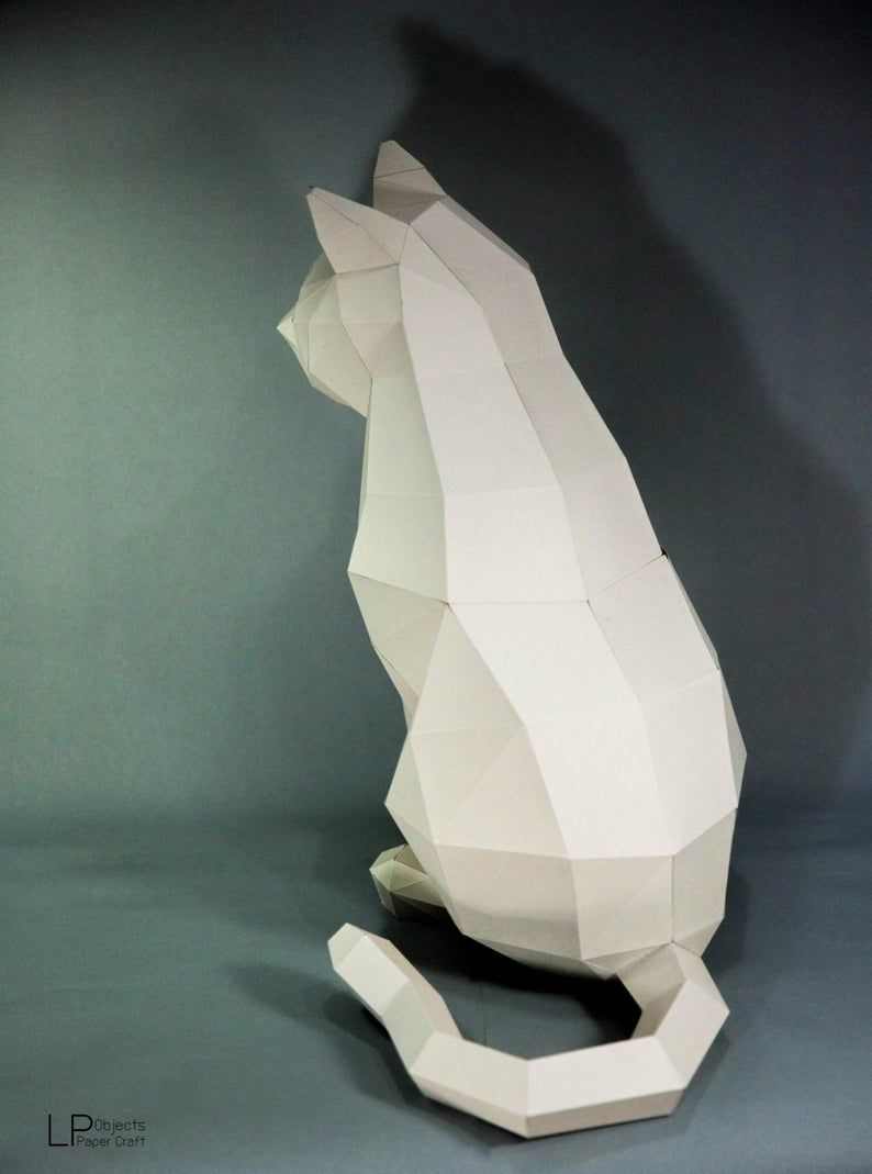 Cat Paper Craft Digital Template Origami Pdf Download Diy Low Poly Trophy Sculpture Model In 2020 3d Paper Crafts Paper Crafts Paper Sculpture