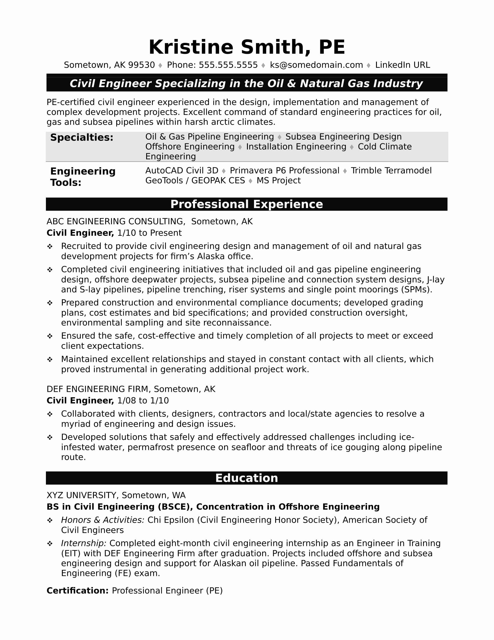 25 Civil Engineer Intern Resume Civil Engineer Resume
