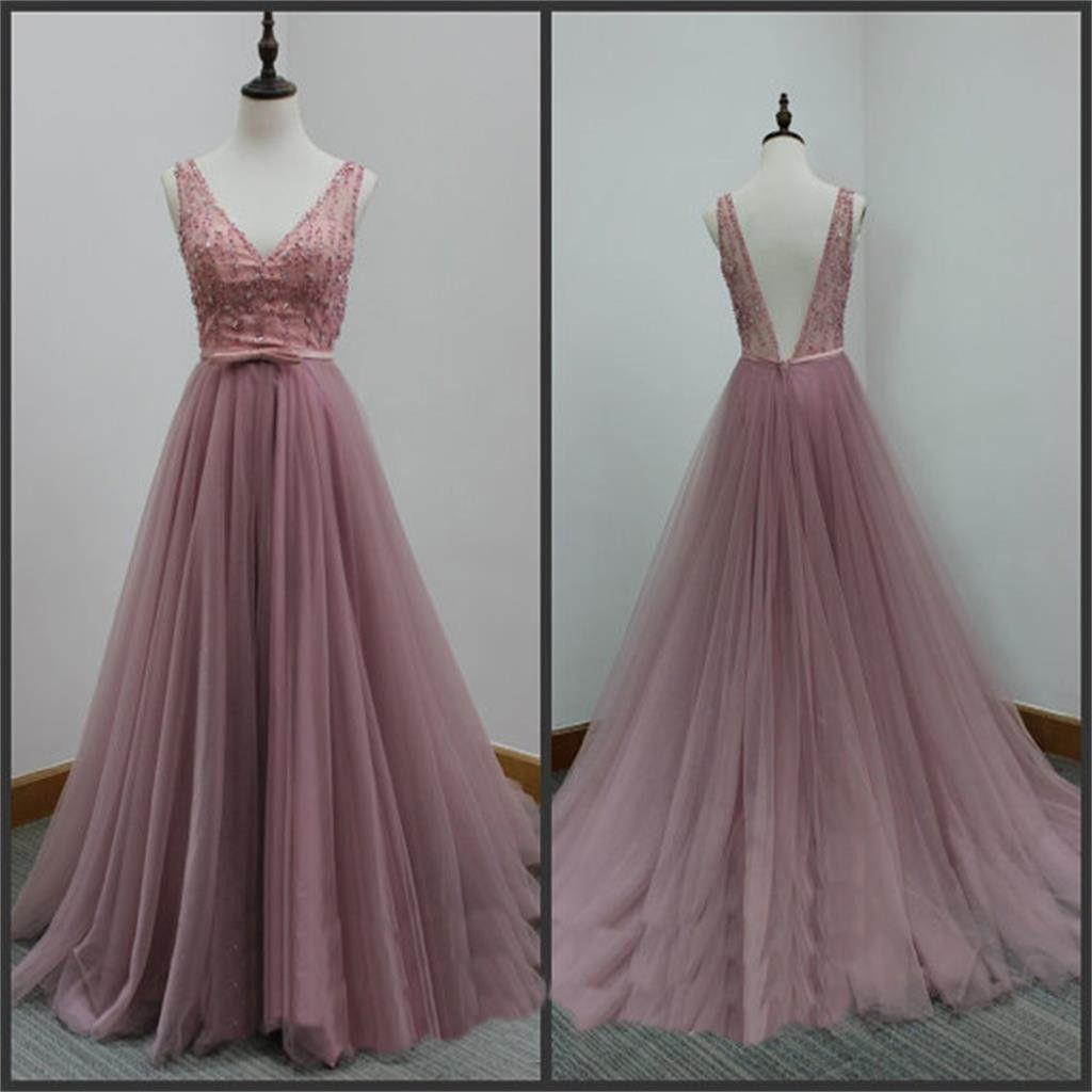 Vback tulle prom dressesaline party dresses evening dresseslong