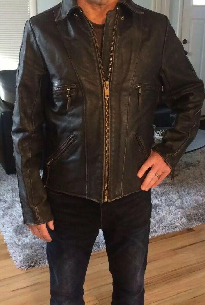 Men/'s Vintage Faded Motorcycle Retro Biker Black Distressed Leather Jacket