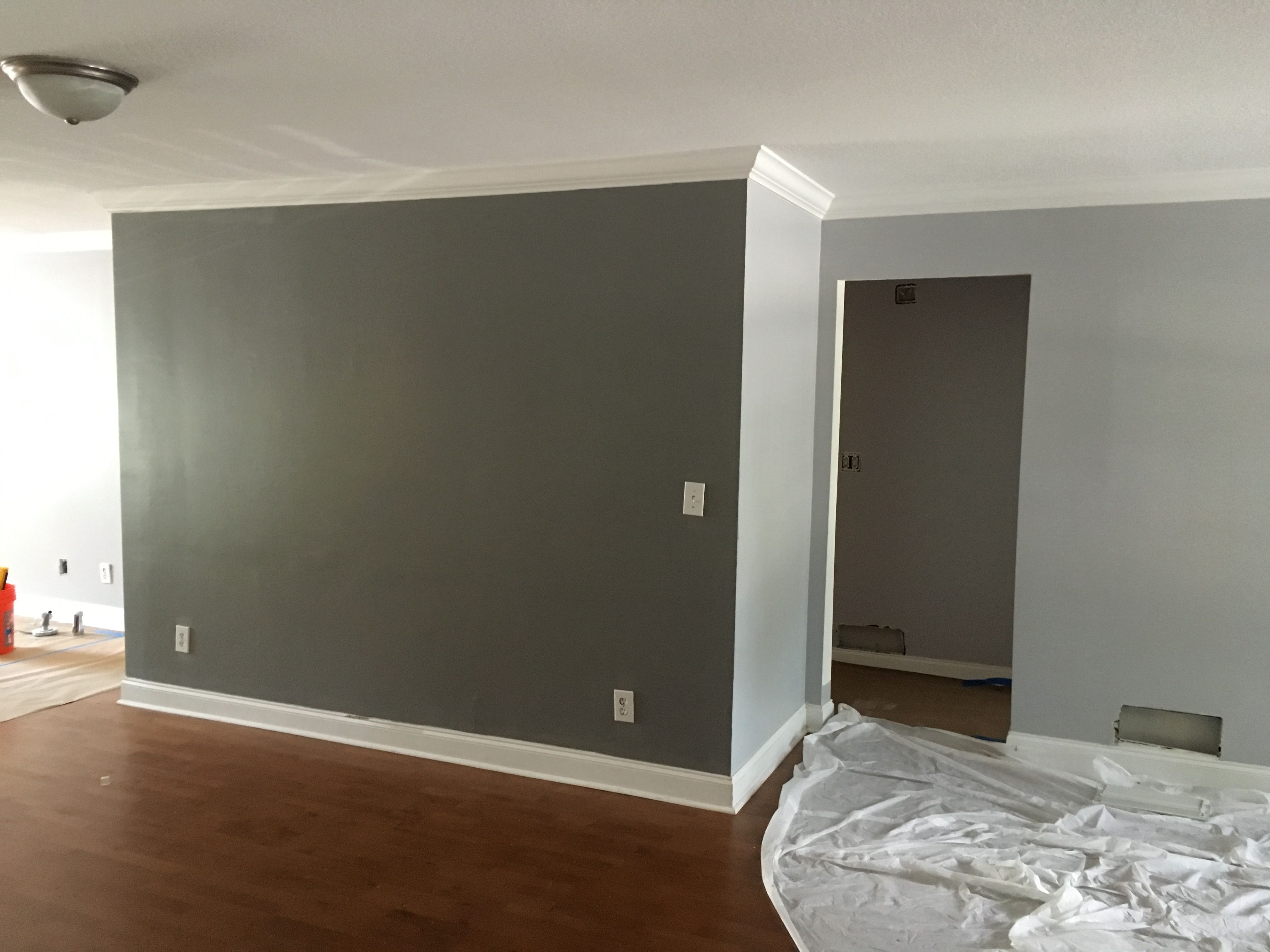 Best Behr Silver Bullet Gunmetal Gray Accent Wall Living Room 400 x 300