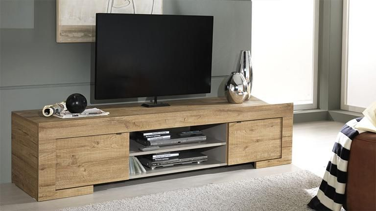 meuble tv design en bois 2 portes emiliano meuble tv meubles et tv. Black Bedroom Furniture Sets. Home Design Ideas