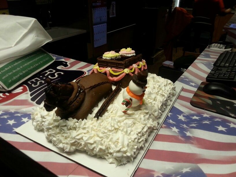 Clydesdale in the snow birthday cake