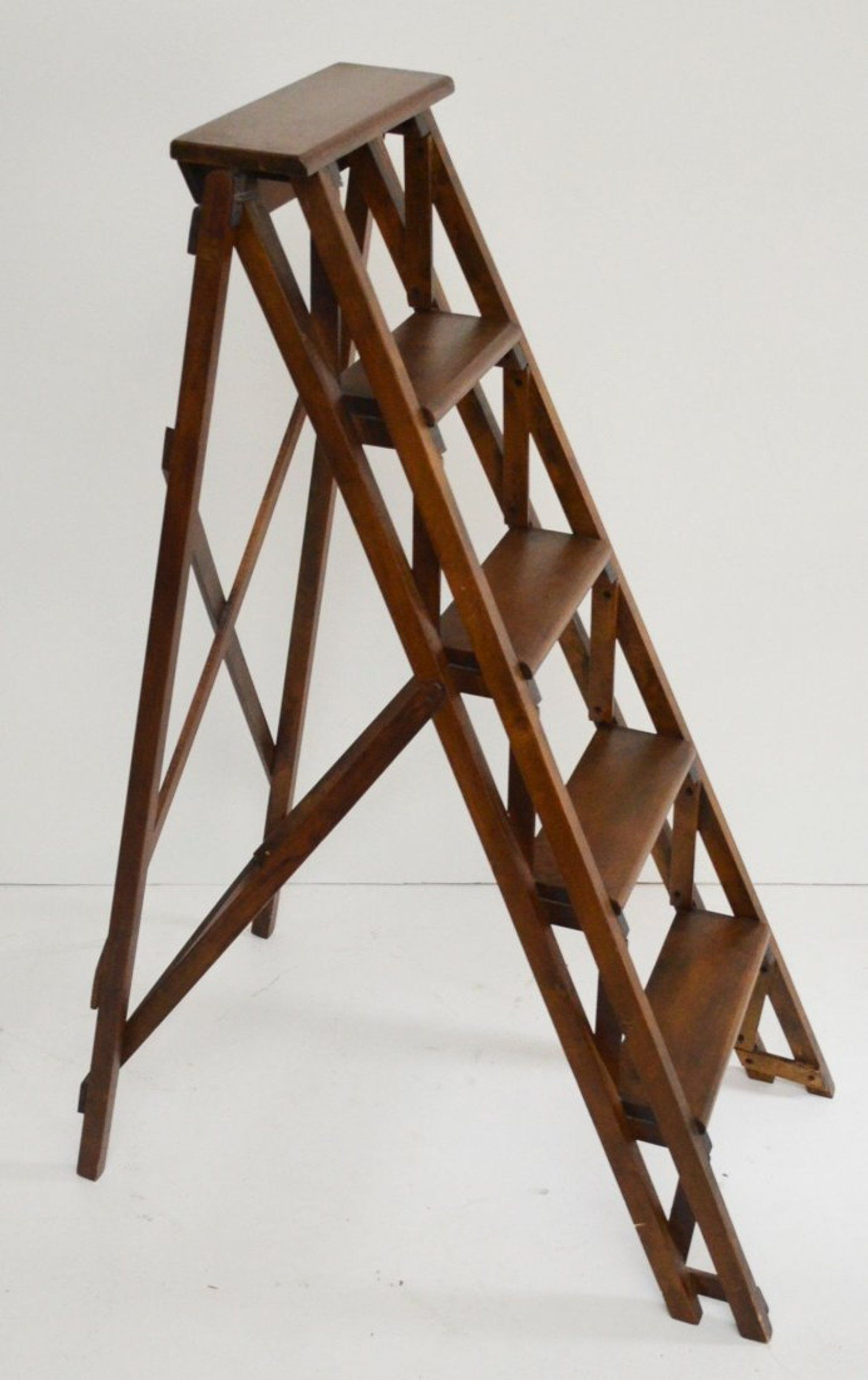 Vintage Wooden Folding Library Step Ladder Feb 20 2014 Applebrook Auctions Estate Sales In Ct Step Ladders Wooden Ladder Wood Ladder