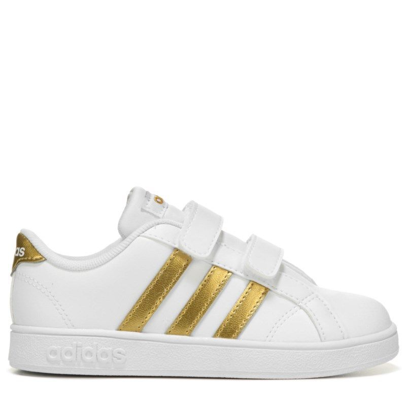 Adidas Kids' Baseline Sneaker Toddler Shoes (White/Gold ...