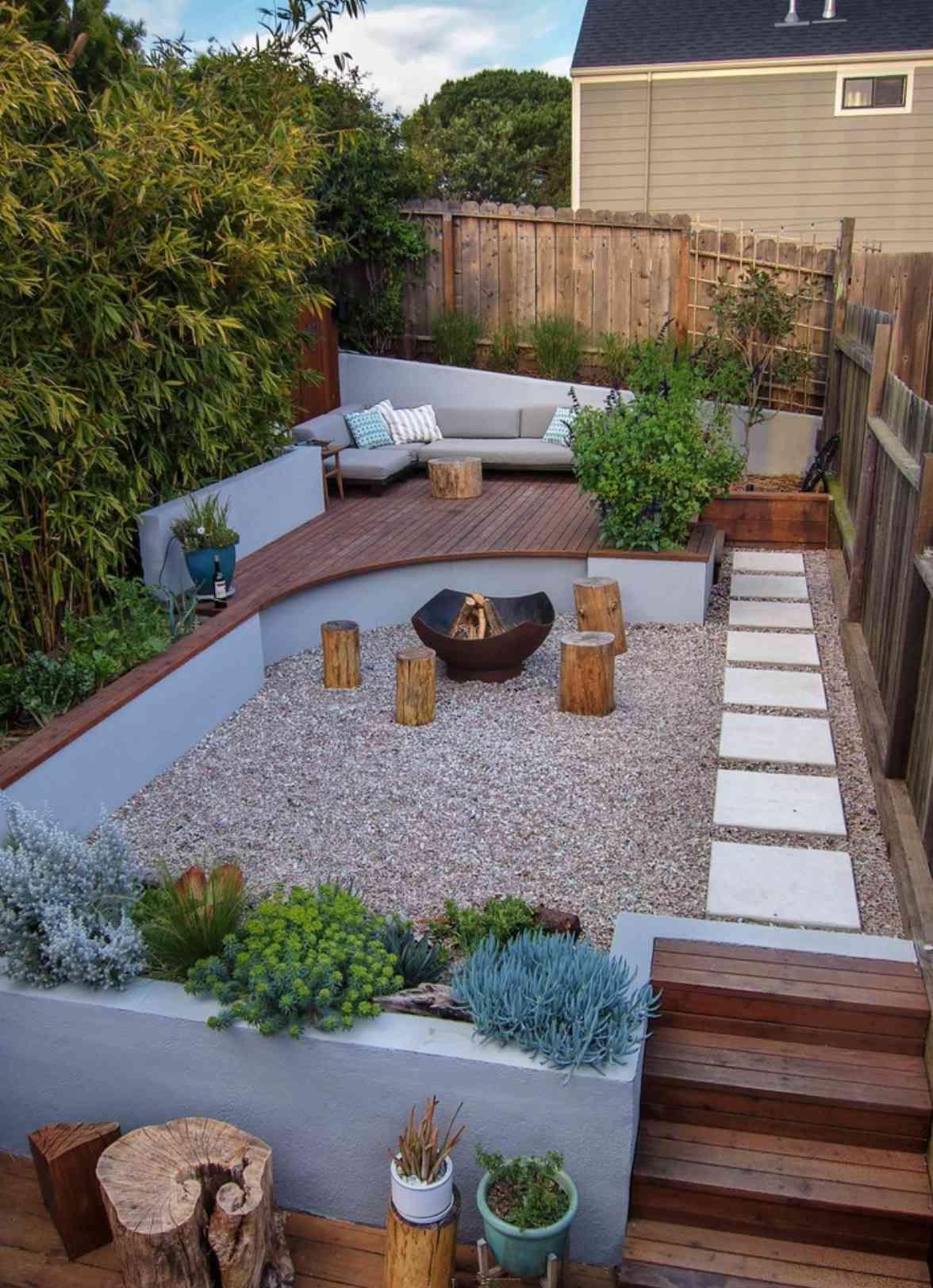 49 Great Backyard Landscaping Ideas In 2020 Backyard Remodel Sloped Backyard Small Backyard Gardens New house backyard ideas