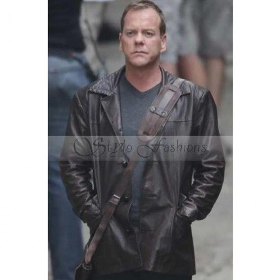 24 Season Jack Bauer Leather Jacket Brown Coat   Season 8 Kiefer Sutherland Jacket