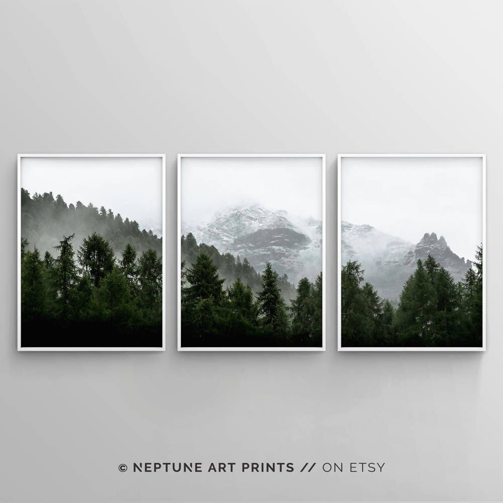 3 Piece Forest Wall Art Print Set Of 3 Forest Landscape Art Etsy Forest Wall Art Landscape Art Wall Art Prints