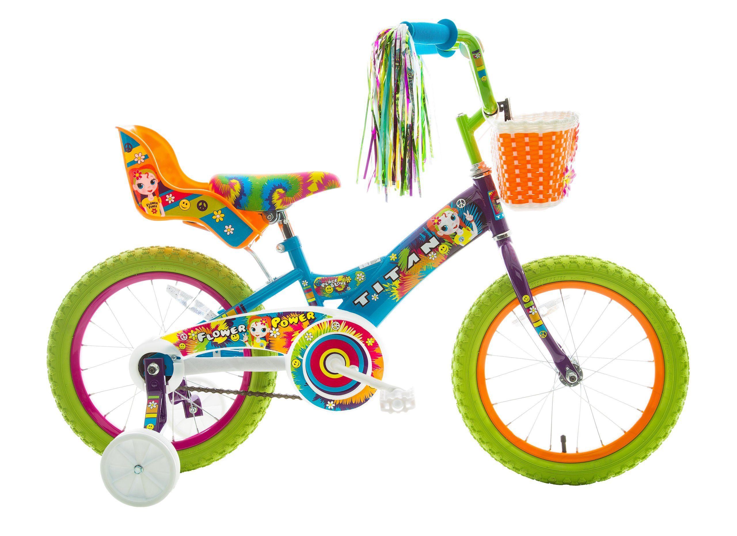 Titan Girl\'s Flower Power Princess BMX Bike, Multi Color, 16-Inch ...