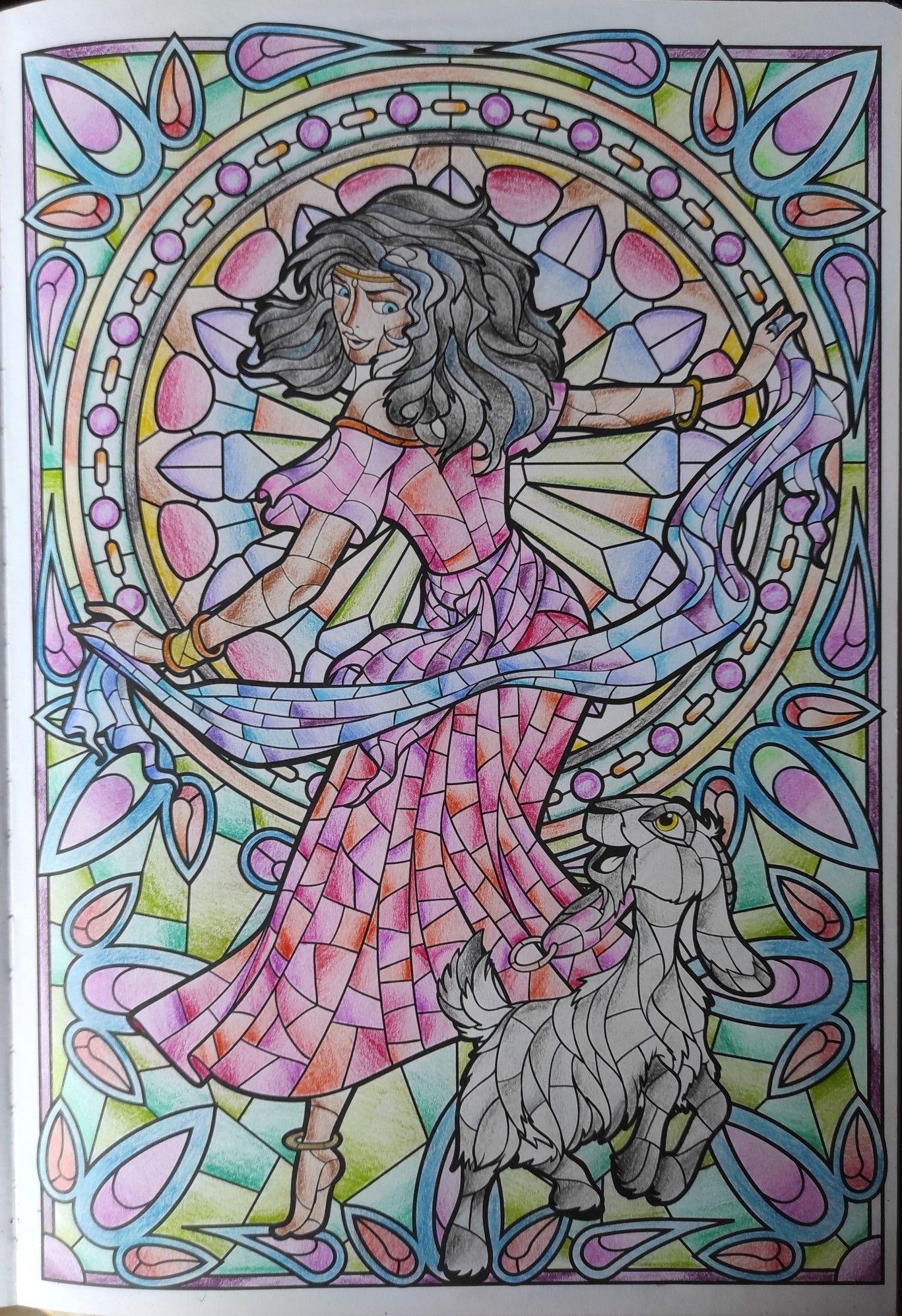 Esmeralda coloriage vitraux Disney en 8  Vitrail disney