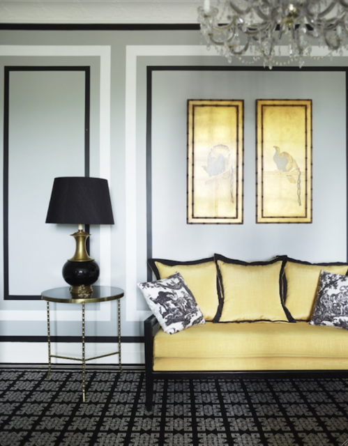 Hollywood Regency Home Decor Yellow Living Room Interior #yellow #and #black #living #room #ideas