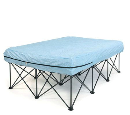Queen Portable Bed Frame For Air Filled Mattresses With Bag Qvc Com Air Mattress Frame Mattress Frame Portable Bed