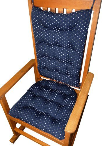 Rocking Chair Cushion Set Tiffany Navy Blue Brocade Diamond Pattern Extra Large Rockers Latex Foam Fill Tufted Seat And Back