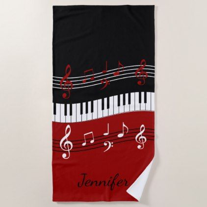 Stylish Red Black White Piano Keys And Notes Beach Towel
