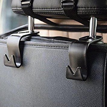 IPELY Car SUV Back Seat Headrest Hanger Storage Hooks - Purse Handbag Grocery Bag Holder(Black -Set of 4)