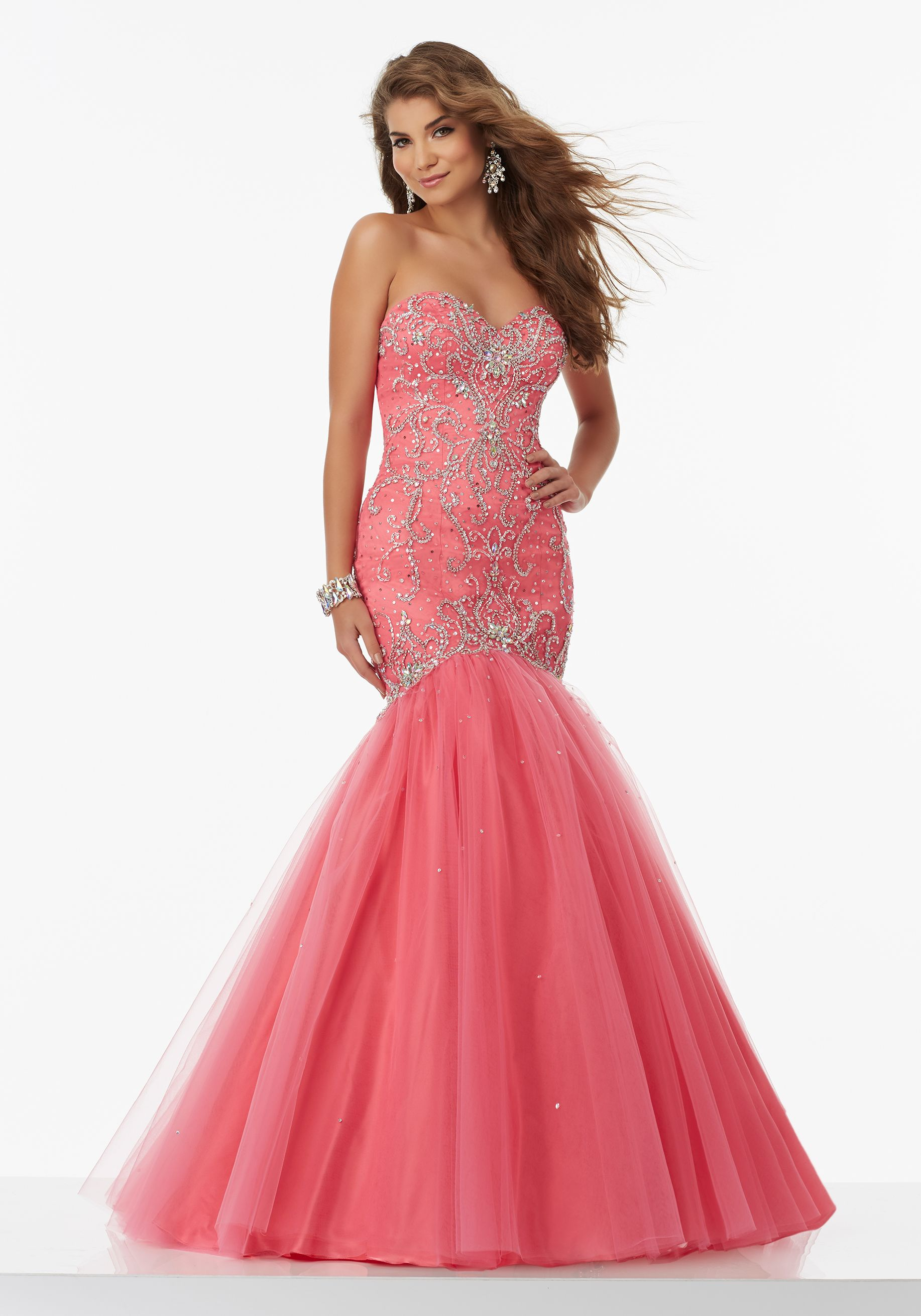Inticately Beaded Tulle Mermaid Prom Dress with Sweetheart Neckline ...