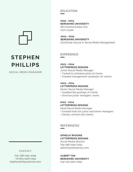 Mint Green  White Minimalist Modern Resume Resume Pinterest