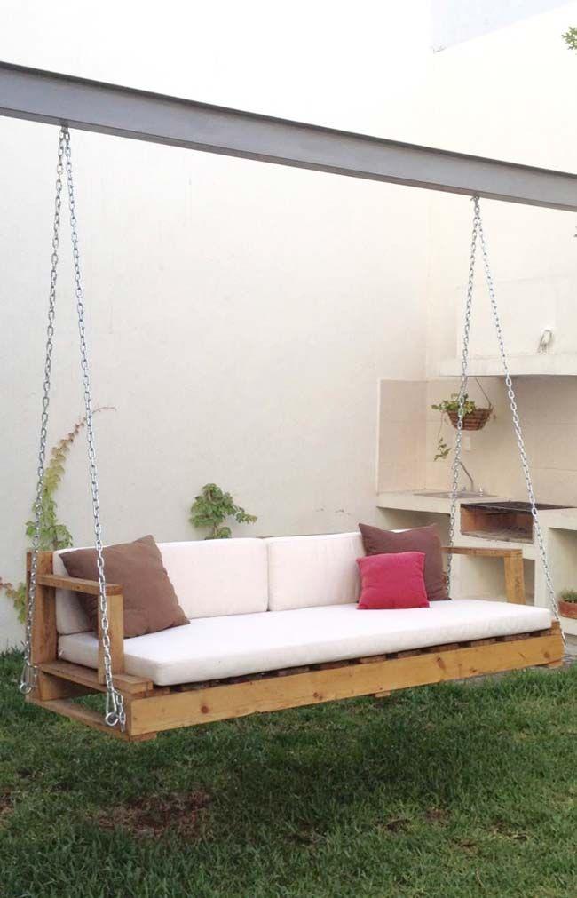 Balanca Com Banco De Pallet Com Imagens Design De Jardim