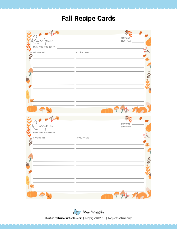 Free Printable Fall Recipe Cards The Cards Are Editable In Adobe Reader Download Them From Recipe Cards Template Recipe Book Templates Printable Recipe Cards