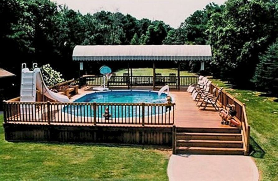 Top 82 diy above ground pool ideas on a budget our first - Above ground pool deck ideas on a budget ...