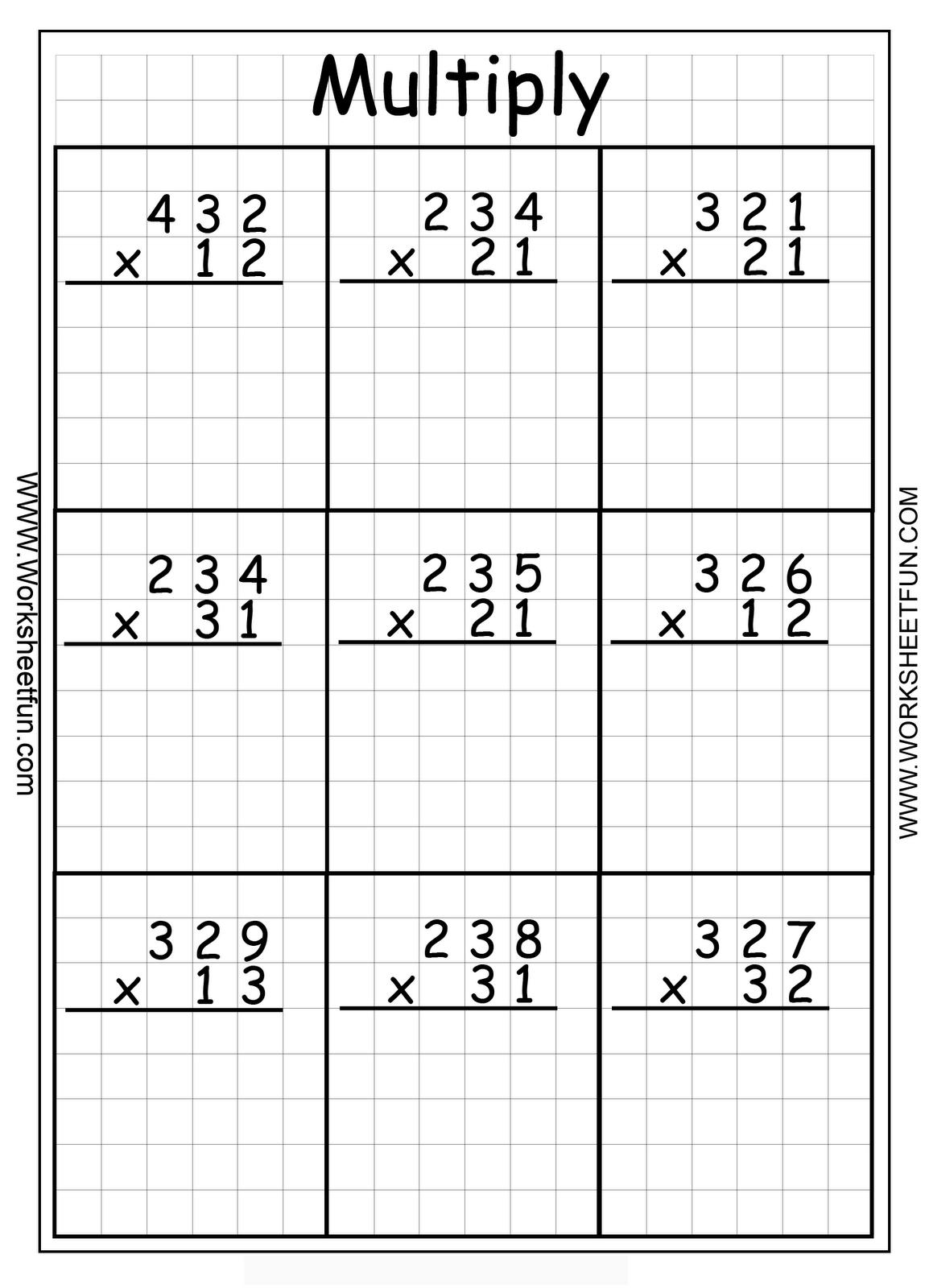 2 Digit By 1 Digit Multiplication Worksheets On Graph Paper Vatoz