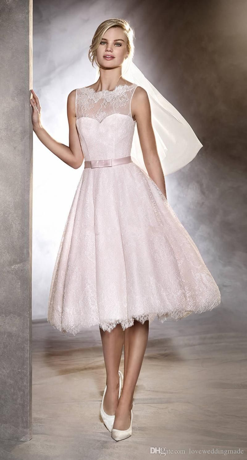Vintage Blush Pink Knee Length Short Wedding Dresses 2017 A Line Backless Button Full Lace Bridal Gowns With Veil Uk 2021 From Loveweddingmade Gbp 87 23 Dh Short Wedding Dress Lace [ 1491 x 800 Pixel ]