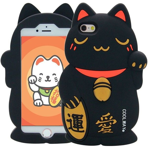 Iphone 6s Plus Case Mc Fashion Cute 3d Japanese Beckoning Cat Lucky Liked On Polyvore Featuring Accessor Cats Phone Case Silicone Iphone Cases Money Cat
