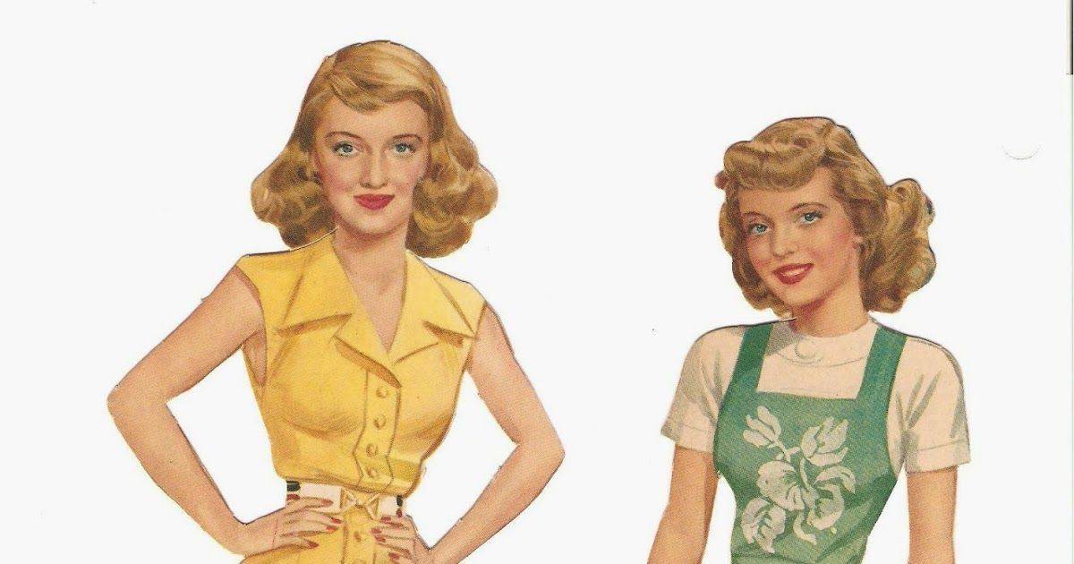 Bette Davis paper doll set from 1942. Includes 2 dolls. A few partially cut sheets with uncut outfi...