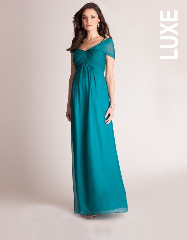 Emerald Silk Multiway Maternity Evening Gown   Seraphine